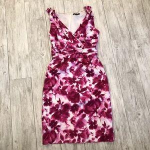 Tahari Pink and Burgundy Shift Dress